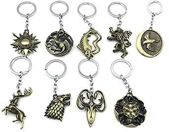 Non-Branded 9 Pack Inspired Charms Keychains House Sigils Stark Direwolf Targaryen