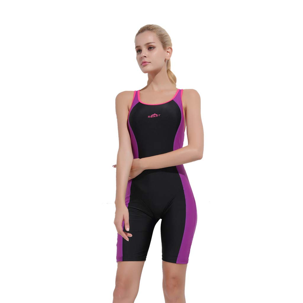YEZIJIN Women Swimsuit Sexy One Piece Bodysuit Swimwear Professional Sport Bathing Suit Wetsuit top Long/Short Sleeve Purple by Yezijin_Swimsuit (Image #4)