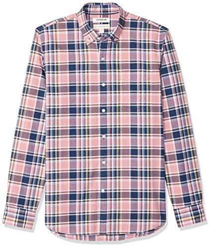 Goodthreads Men's Standard-Fit Long-Sleeve Plaid Oxford Shirt, Pink Plaid XXX-Large Tall