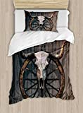 Ambesonne Barn Wood Wagon Wheel Duvet Cover Set Twin Size, Long Horned Bull Skull and Old West Wagon Wheel on Rustic Wall, Decorative 2 Piece Bedding Set with 1 Pillow Sham, Black Brown White