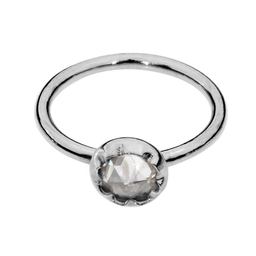 Sampson Nose Ring Hoop-Tragus Earring-Cartilage Earring-Sterling Silver 20G 7mm Hoop 3mm Clear Cubic Zirconia