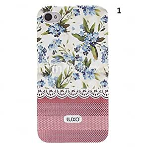 RC - Pink Base Lace Series Flower Pattern Relief Back Case for iPhone 4/4S(Assorted Color) , 4