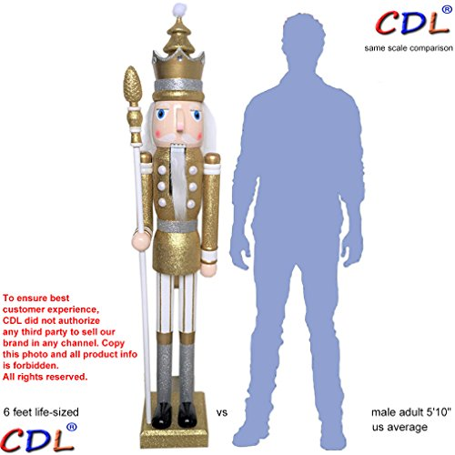 CDL 6ft tall life-size large/giant gold glitter Christmas wooden nutcracker king ornament on stand holds scepter for indoor outdoor Xmas/event/wedding decoration(6 feet, king gold k29)
