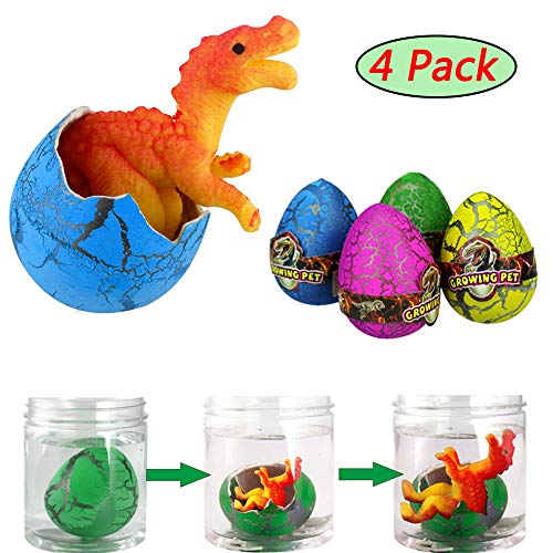 Hatching Dinosaur Eggs 4 Pack Easter Eggs | Hatching in Water, Growing Dinosaur Eggs Toy for Boys/Girls, Kids Birthday Party Favors -