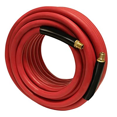 """Apache 98108940 1/4"""" x 50' 300 PSI Red Rubber Air Hose Assembly with 1/4"""" Male Pipe Thread Fittings & Bend Restictors"""