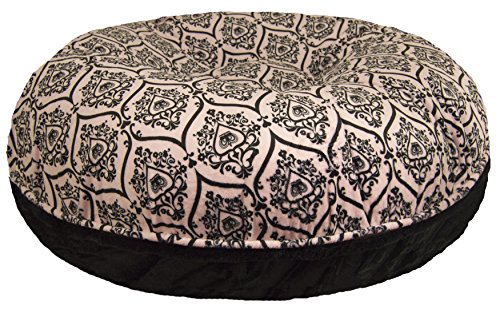 BESSIE AND BARNIE Signature Black Puma Versailles Pink Extra Plush Faux Fur Bagel Pet Dog Bed Multiple Sizes