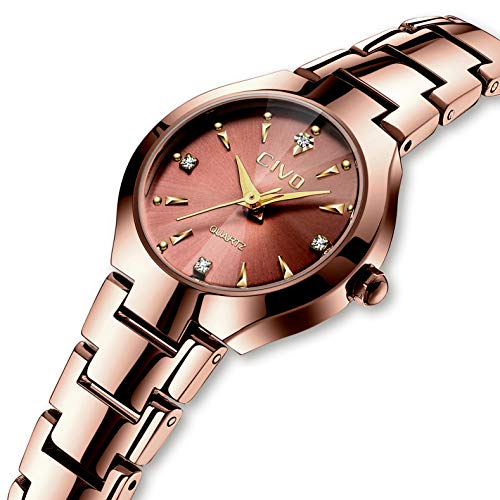 (CIVO Women Watches Ladies Stainless Steel Watch Waterproof Luxury Fashion Elegant Watches for Woman Girls Business Dress Analogue Quartz Wrist Watch (Rose Gold 2))