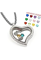 Heart Shape Locket Necklace - Genuine 316 Surgical Stainless Steel +12 Heart Charms +3 Christian Charms