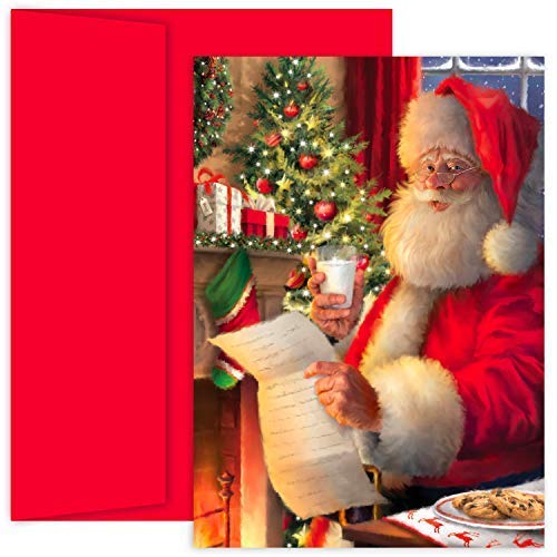 Masterpiece Holiday Collection 18-Count Christmas Cards, Santa's List