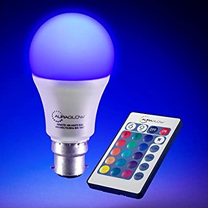 Colored Led Lights >> Auraglow 7w Remote Control Colour Changing Led Light Bulb B22 60w Eqv Warm White Dimmable Version 3rd Generation