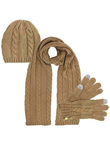 Beige 3 Piece Beanie Hat Texting Gloves & Matching Scarf Set
