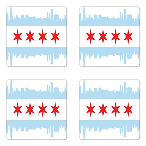 Ambesonne Chicago Skyline Coaster Set of Four, City of Chicago Flag with High Rise Buildings Scenery National, Square Hardboard Gloss Coasters for Drinks, Red White Baby Blue ()