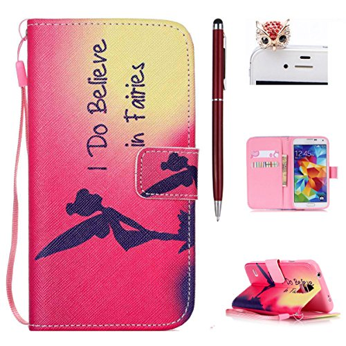 Huawei P8 Lite Funda - Felfy Huawei P8 Lite Dibujo Colorido Cute Girl Pattern Magnético Closure Style Cuero PU Billetera [Stand Feature] Flip Folio Protective Funda with Lanyard Strap Carrying Carcasa Elf