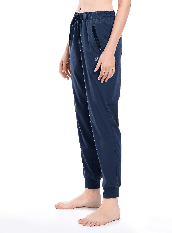Womens Running Pants Dry Fit Joggers Zipper Pockets Workout Sweat Pant Sun Protection UPF 50 Hiking Pants