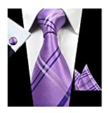 Men Lavender Purple Check Summer Wedding Neckties Cufflinks Handky Silk Ties Set