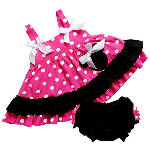[So Sydney Baby Toddler 2 Pc Tank Swing Top and Ruffle Diaper Cover Pants Outfit (XL (18-24 Months), Hot Pink Polka] (Minnie Mouse Outfit For Babies)