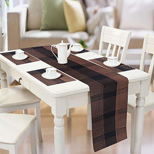 Famibay PVC Table Placemats and Table Runner – Heat Insulation PVC Place Mats Stain-resistant Woven Vinyl Table Mats for Kitchen (Set of 4 and Table Runner, Coffee)