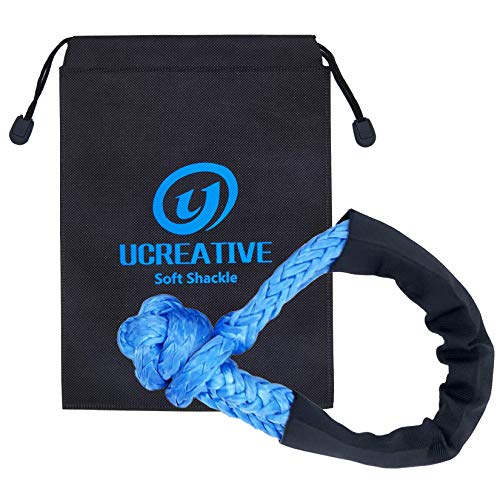Ucreative Synthetic Soft Shackle 7/16 Inch x 20 Inch (35,000lbs Breaking Strength) with Extra Sleeves (Blue, 1-Pack)