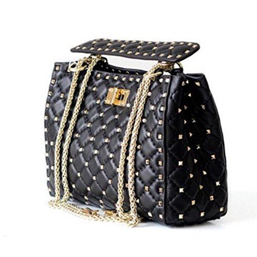 ACTLURE Women Lambskin Leather Rock Stud Spike Chain Handbag Shoulder Bag (BLACK) ()