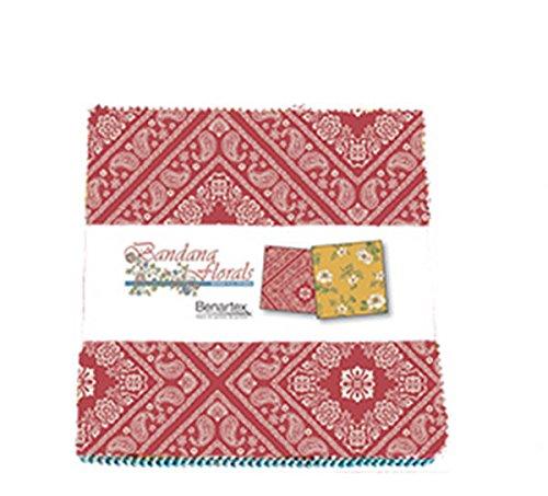Bandana Florals by Dover Hill Studio 5X5 Pack 42 5-inch Squares Charm Pack Benartex - Calico Quilt Shop