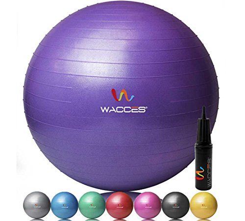 Wacces Professional Exercise, Stability and Yoga Ball for Fitness, Balance & Gym Workouts- Anti Burst - Quick Pump Included (Purple, 55 cm)