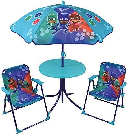 Juego de Mesa de jardín para niños, 2 sillas, Paraguas PJ Masks, diseño Plegable, Muebles de Patio, sombrilla para niños, Asiento de Juego, Patio, Picnic, Camping, portátil: Amazon.es: Jardín