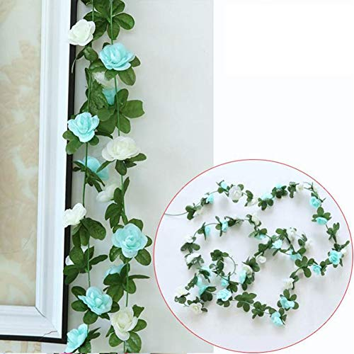 - Rose Garland,3 Pcs Artificial Flowers Roses,Silk Hanging Plants Green Vintage Vine for Home Decor Wedding Orchids Arrangements Outside Office Birthday Party Garden Craft Art (Blue-White)