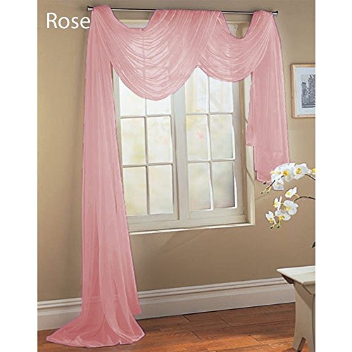 1 Pc Rose Pink Solid Valance Scarf Soft Voile Sheer Window C