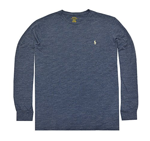 Cotton Long Sleeve Polo T-shirt (Polo Ralph Lauren Men's Long Sleeve Pony Logo T-Shirt - Large - Gentian Blue Heather)
