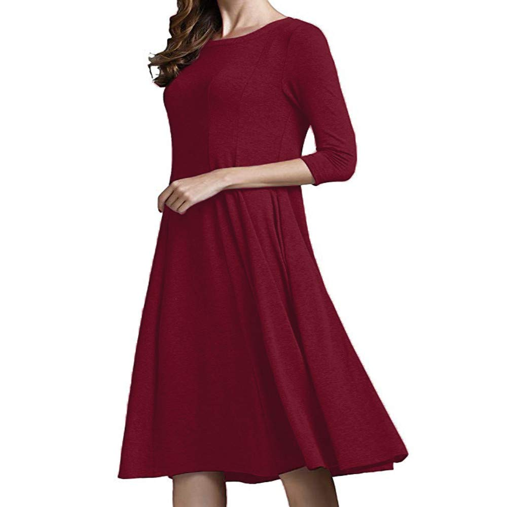 TOOPOOT Womens Casual Half Sleeve with Pockets Loose Dress Ladies Evening A-Line and Flare Midi Long Dress