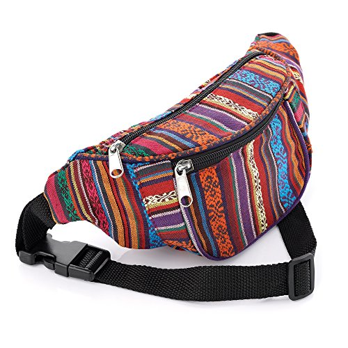 Multi Coloured Tribal Print Waist Bag Fanny Pack Money Bum Bag Hip Belt from Pritties Accessories
