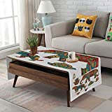Large African Drum Coffee Table Linen Blend Tablecloth,Side Pocket Design,Rectangular Coffee Table Pad,Hamsa,African Savannah Animals Paisley and Hamsa Hand Pattern with Orient Ornate Malaysian,Multicolor,for Home Decor