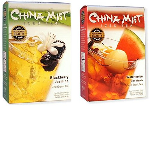 China Mist Tea 2-Pack Bundle - Blackberry Jasmine Iced Green Tea & Watermelon with Marula Iced Black Tea (Green Tea Mist China)