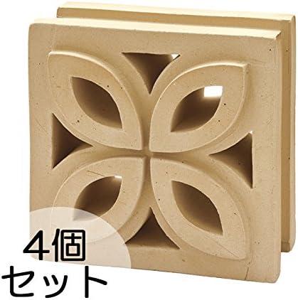 ブロック せっき質無釉ブロック ポーラスブロック200 190Fタイプ ハニワ(配筋溝あり・4本角溝) 4個セット単位 屋外壁