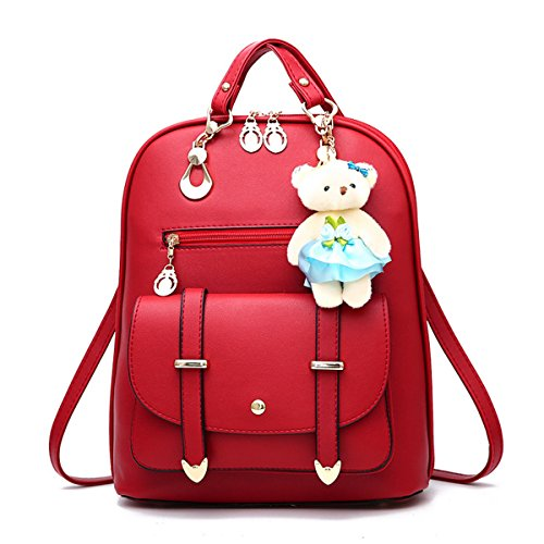 Women's Purses Multi-Way Backpacks Casual School Bags with Cute Teddy Bear Pendant,Burgundy (Mini Pendant Burgundy)