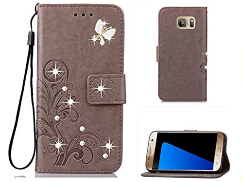 Price comparison product image Galaxy S7 Edge 3D Handmade Beauty Crystal Rhinestone Case, Inspirationc Bling Fashion Butterfly Lucky Flowers PU Leather Credit Card ID Stand Holders Wallet Cover for Samsung Galaxy S7 Edge--Bling Gray