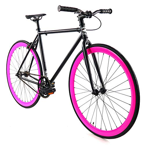Golden Cycles Fixed Gear Bike Steel Frame with Deep V Rims-Collection, Sugar Coat
