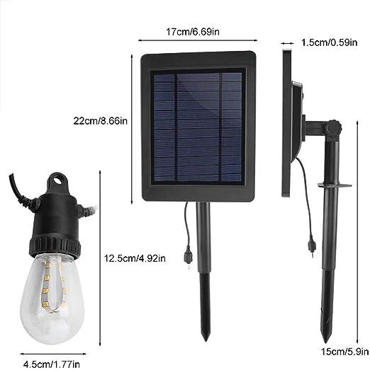 koulate Luces LED solares para Exteriores a Prueba de Agua - Luces de 12 LED 24 pies - CREA un Ambiente de bistró en tu jardín, pérgola: Amazon.es: Hogar