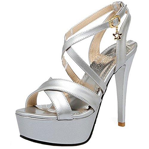 TAOFFEN Elegante Mujer Stiletto Sandalias Punta Abierta Tacon Alto Plataforma Verano Zapatos Plata