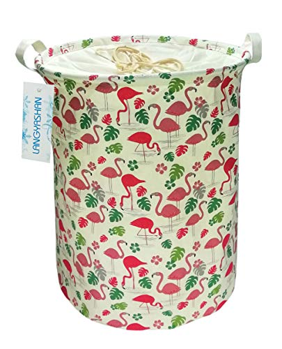 Laundry Baskets Waterproof Storage Bin,Cute Flamingo Laundry Hamper For Baby Nursery,Kids Room,Outdoor,Closet,Toys, Gift Baskets (Drawstring Flamingo)