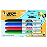 BIC Great Erase Grip Dry Erase Marker, Fine Point, Assorted Colors, 4-Count
