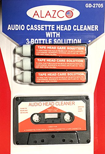 Audio Tape Cassette Head Cleaner w/ 3 Cleaning Fluids Care Wet Maintenance Kit by Alazco ()