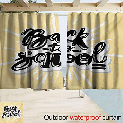 Rod Pocket Top Blackout Curtains/Drapes,Quote Chalky Graffiti Style Back to School Lettering on Sunburst Effect,Simple Stylish Waterproof,W72x72L Inches,Pale Mustard Black and White