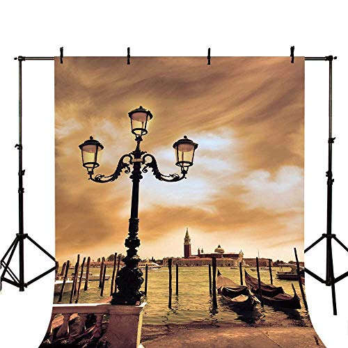 Venice Stylish Backdrop,Venice Lagoon Gondolas Moored by Saint Mark Square on Grand Canals Dreamy Sky Decorative for Photography,59