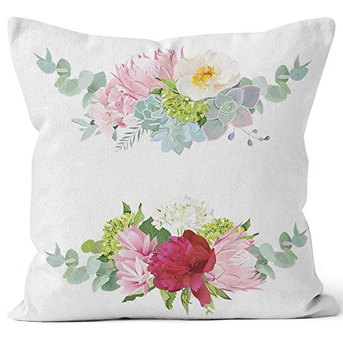 Nine City Wreath Vector Design Set Hydrangea Throw Pillow Cushion Cover,HD Printing Decorative Square Accent Pillow Case,26