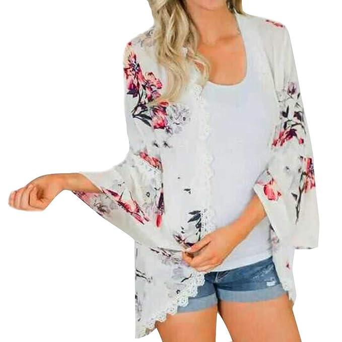 JiaMeng Casual Blusa de Encaje con Estampado de Flores de Chif¨®n Tops Traje