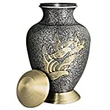 Funeral Urn by Meilinxu - Golden Arcadia Flying Birds - Brass Handcrafted and Engraved Cremation Urns for Human Ashes Adult - Display Burial Urn At Home or in Niche at Columbarium (Keepsake Urn Large