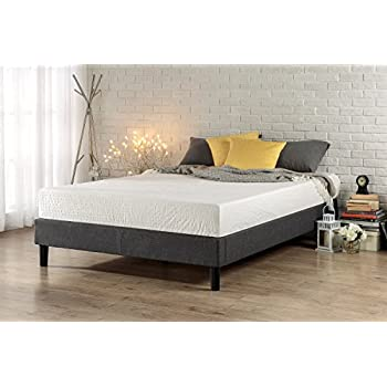 Zinus Essential Upholstered Platform Bed Frame / Mattress Foundation / No  Boxspring Needed / Wood Slat Support, Queen