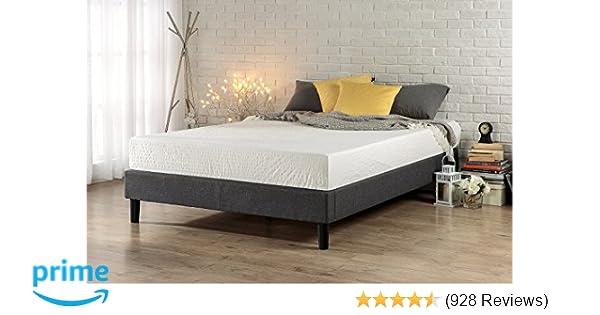 Amazon.com: Zinus Essential Upholstered Platform Bed Frame/Mattress ...