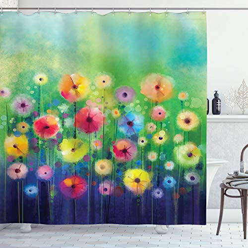 Ambesonne Watercolor Nature Landscape Floral Decor Collection, Blossom Plants Herbs Garden Scene Colorful Spring Petal Flowers, Polyester Fabric Bathroom Shower Curtain Set with Hooks